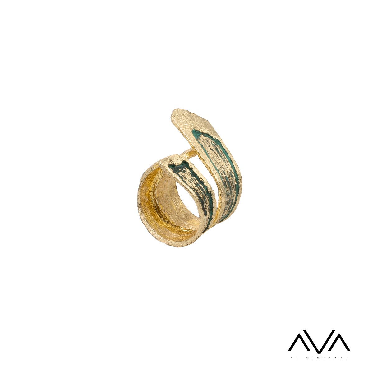 """Anillo """"ANEMOS"""" AVA by Mibranda, color verde."""