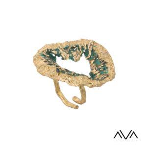 """Anillo """"EDAFOS"""" AVA by Mibranda, color verde"""