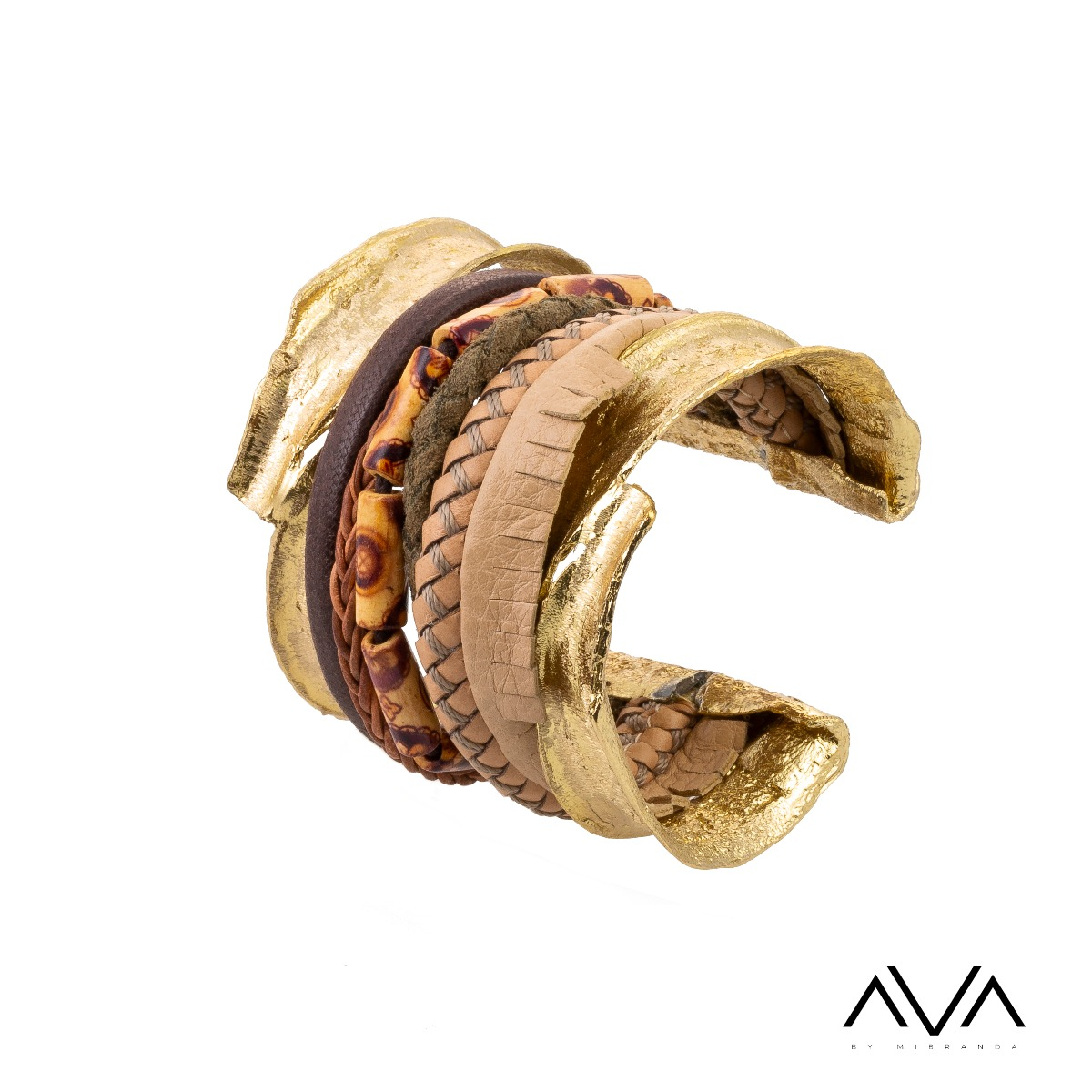 "Brazalete ""KYMA"" AVA by Mibranda, color marrón"