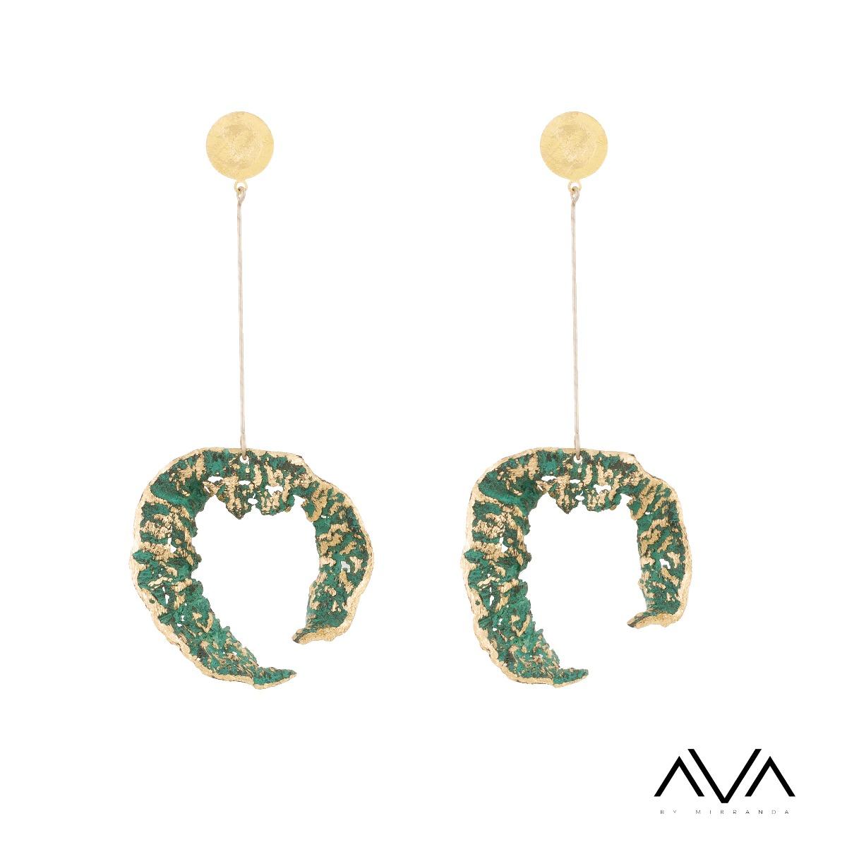 """Pendientes """"EDAFOS"""" AVA by Mibranda, en verde."""