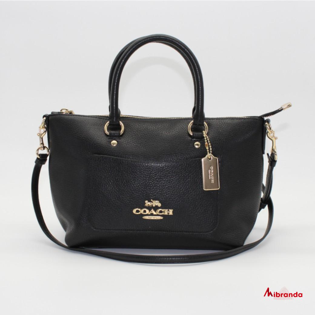 Bolso Satchel EMMA, de Coach, color negro.