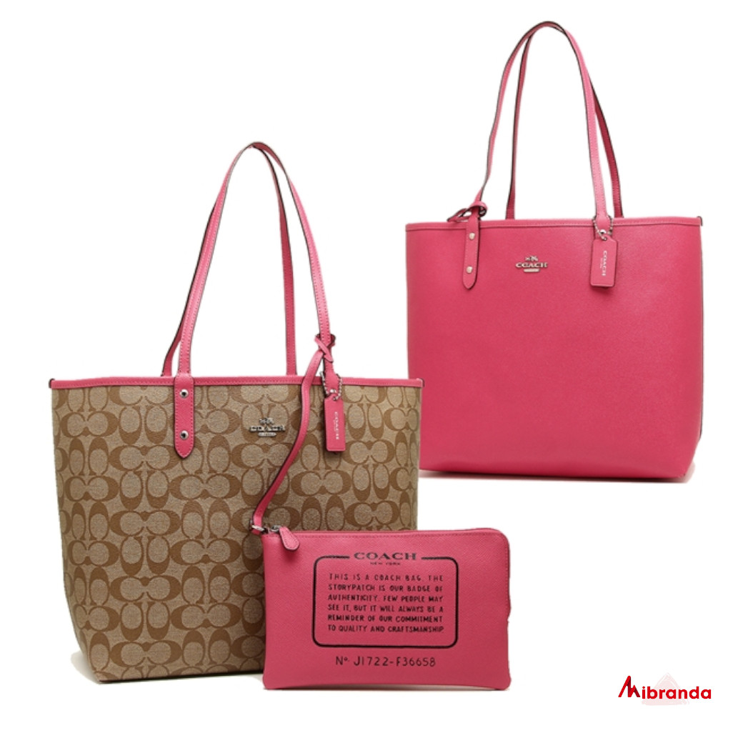 Shopping bag City,de Coach, reversible estampado kaki-liso pink