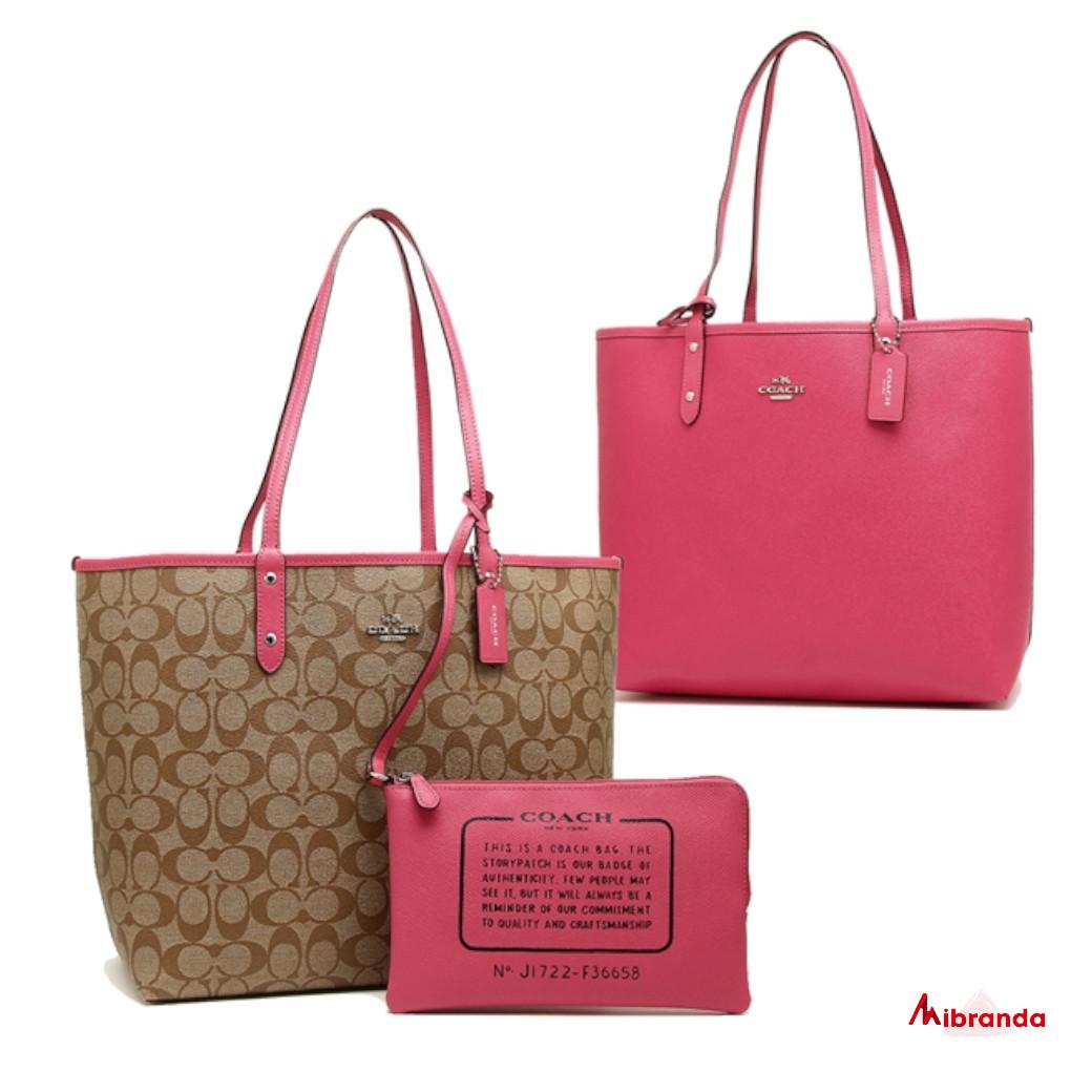 Shopping bag City,de Coach, reversible estampado kaki-liso pink