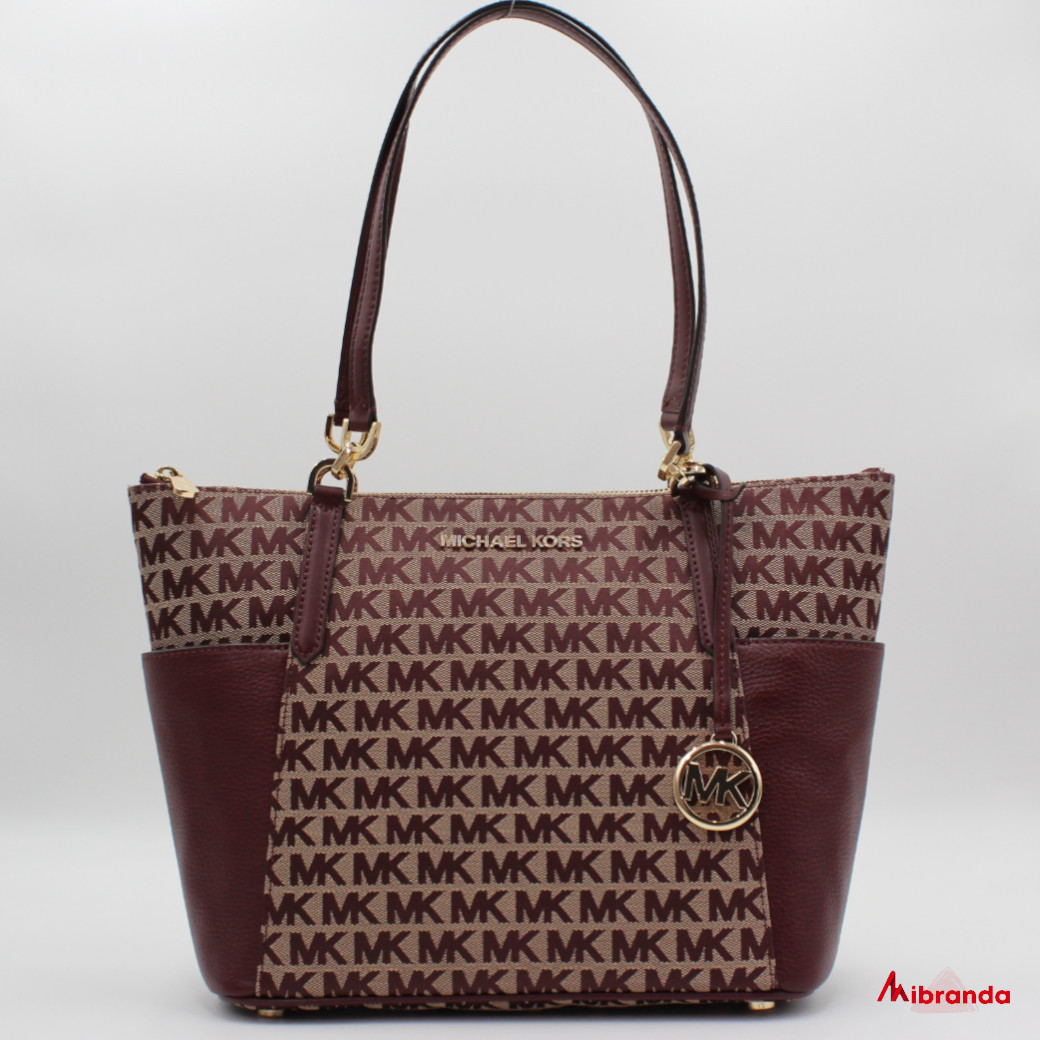 Bolso Tote Bedford, con estampado, color oxblood