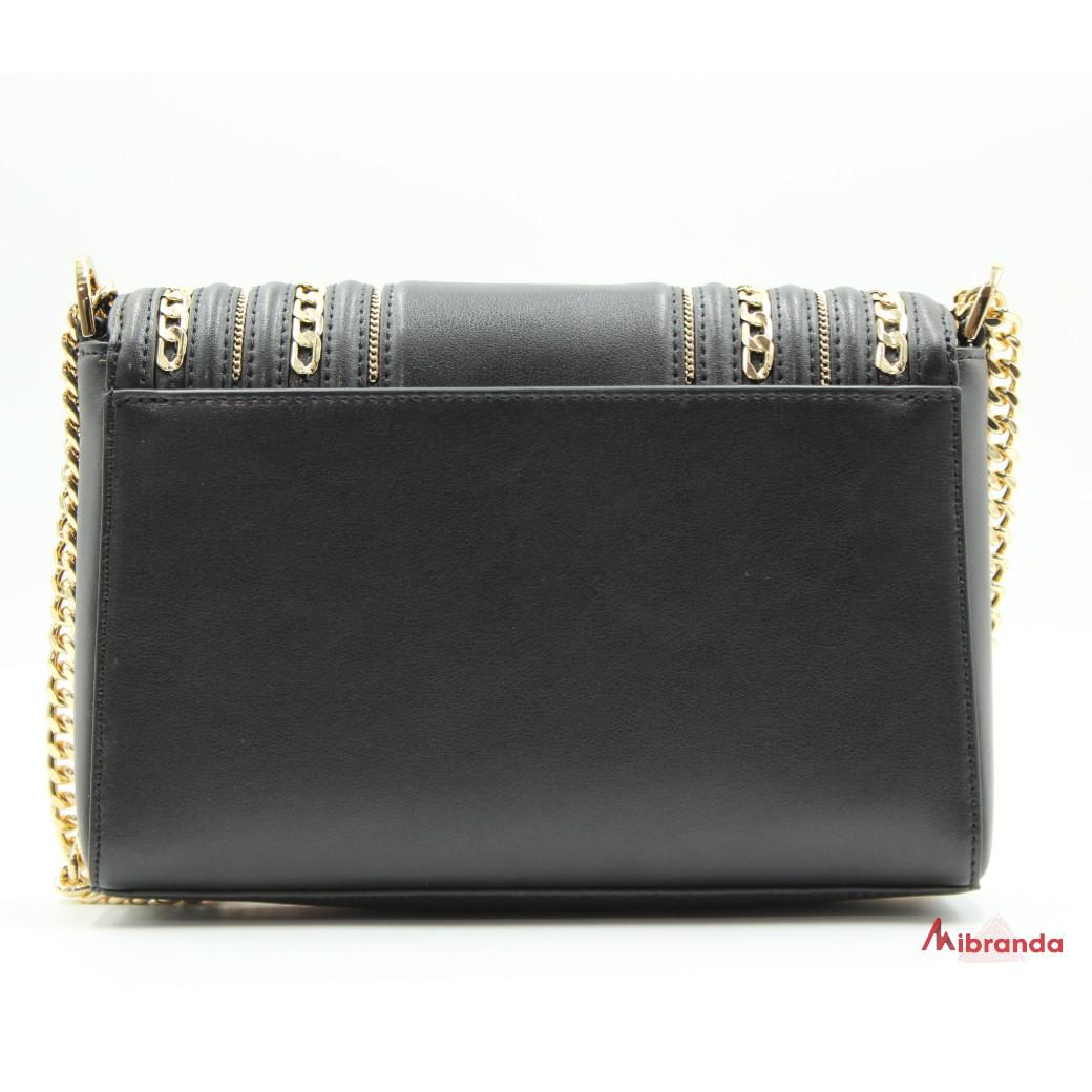 Bolso de hombro Kinsley, de Michael Kors, negro con cadenas doradas.