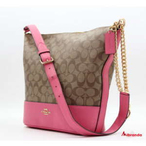 Bolso de hombro, de Coach, modelo Paxton, estampado y rosa