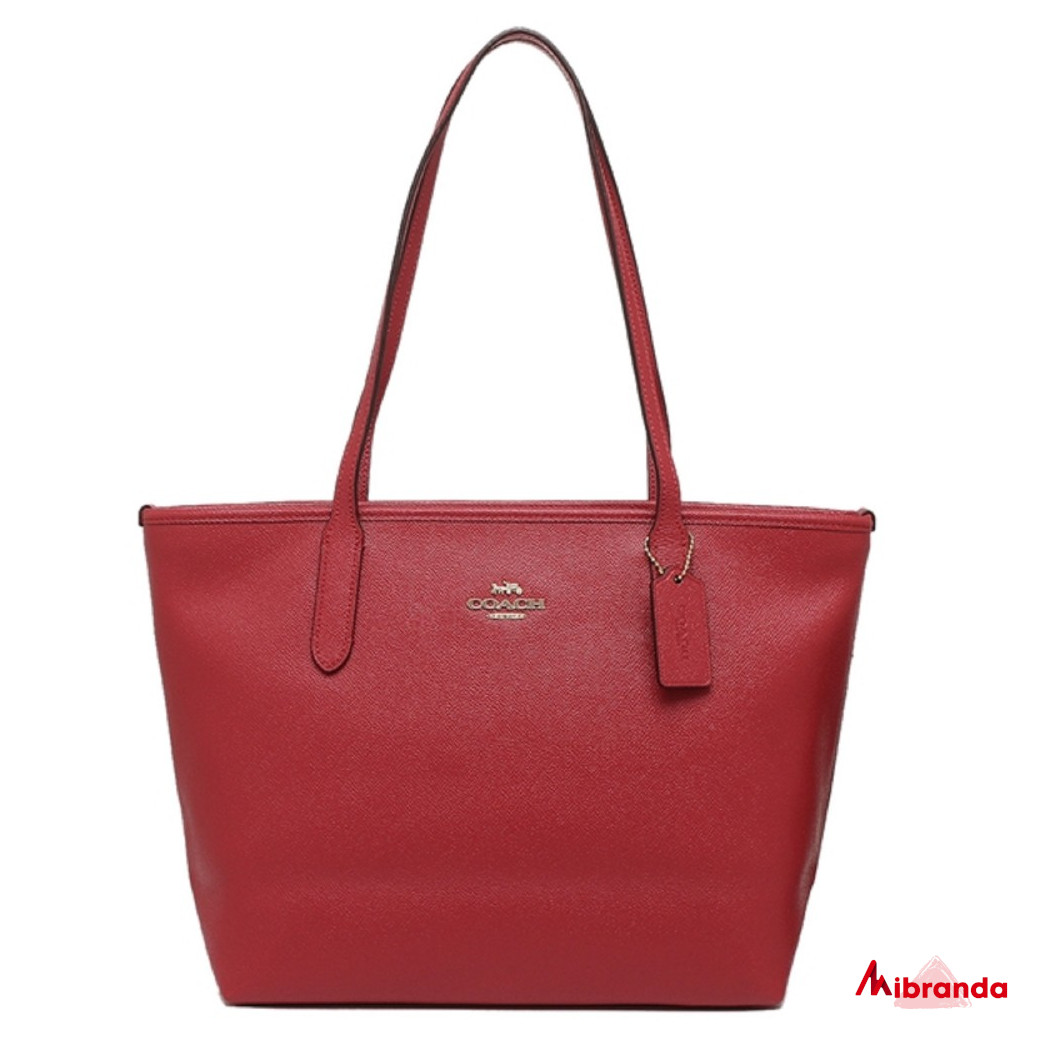 Bolso Tote Zip, de Coach, color rojo