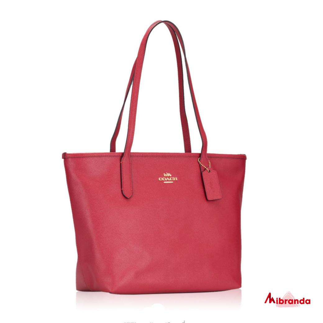 Bolso Tote Zip, de Coach, color rojo
