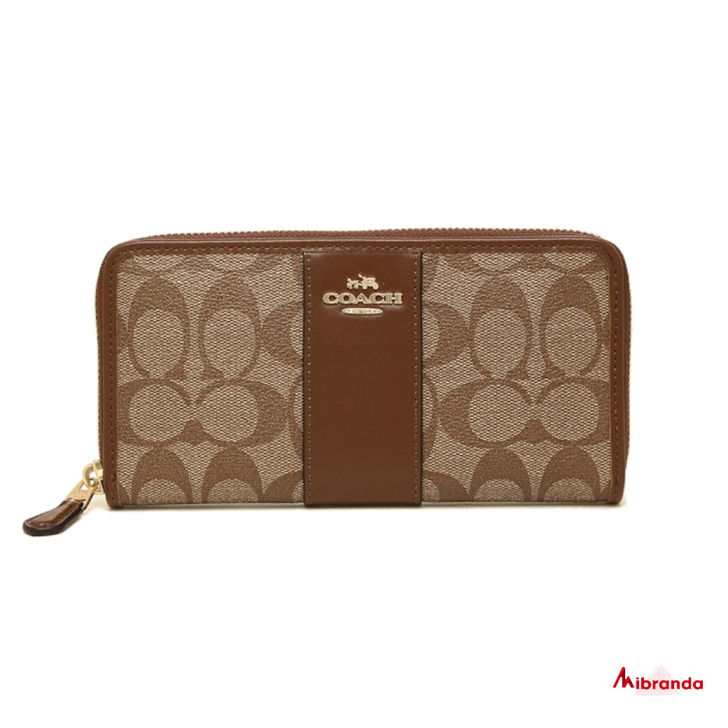 Cartera-monedero de Coach, estampado khaki y piel marrón