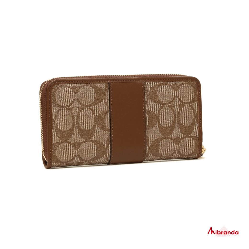 Cartera-monedero de Coach, estampado khaki y piel marrón