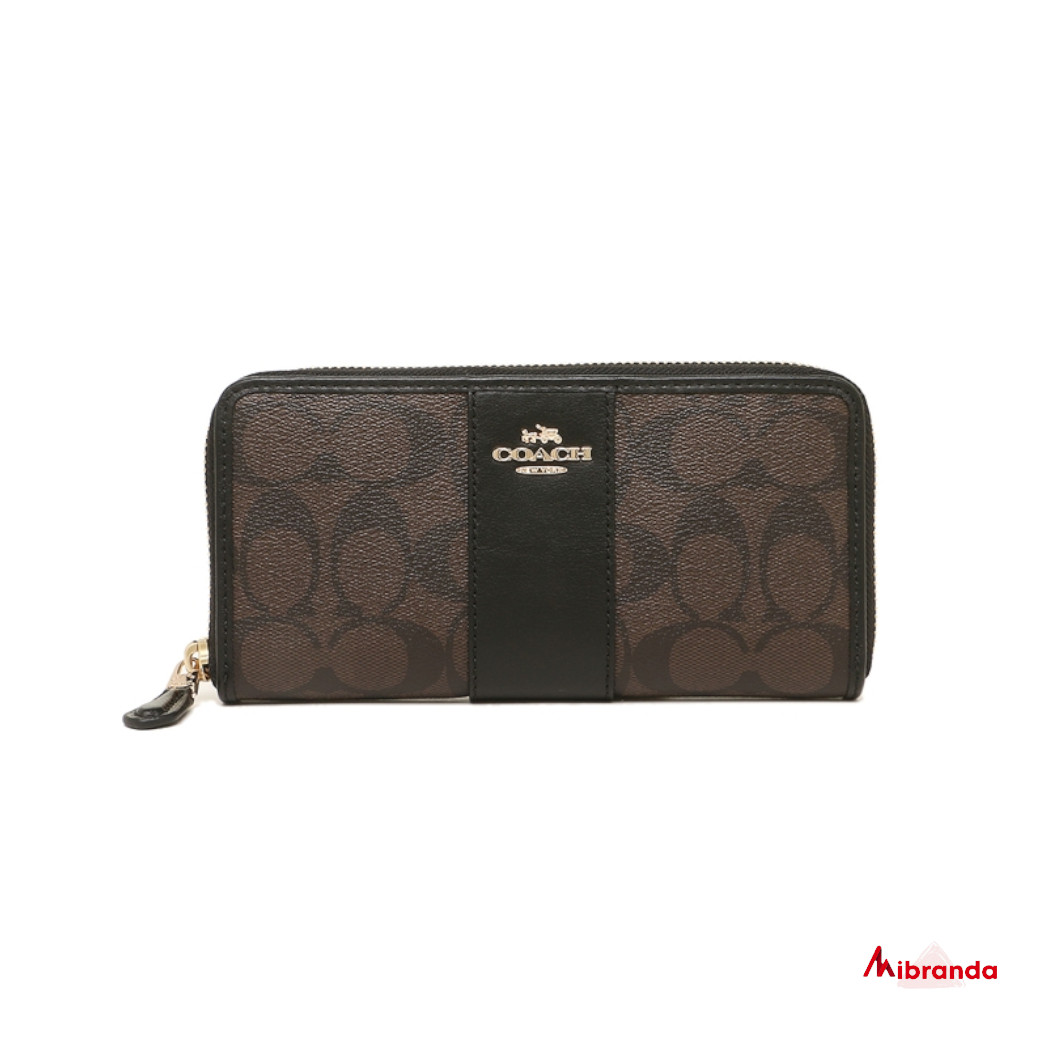 Cartera-monedero de Coach, estampado marrón y piel negra