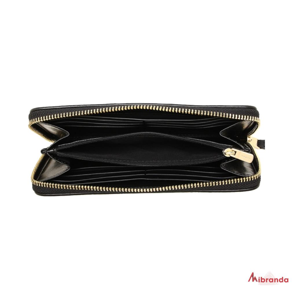 Cartera-monedero de Coach, estampado khaki y negro