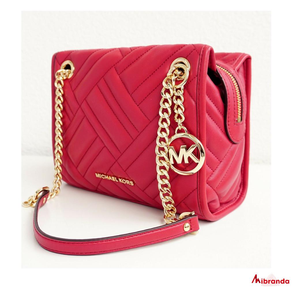 Bolso de hombro Kathy, de Michael Kors, tamaño mediano, piel color scarlet