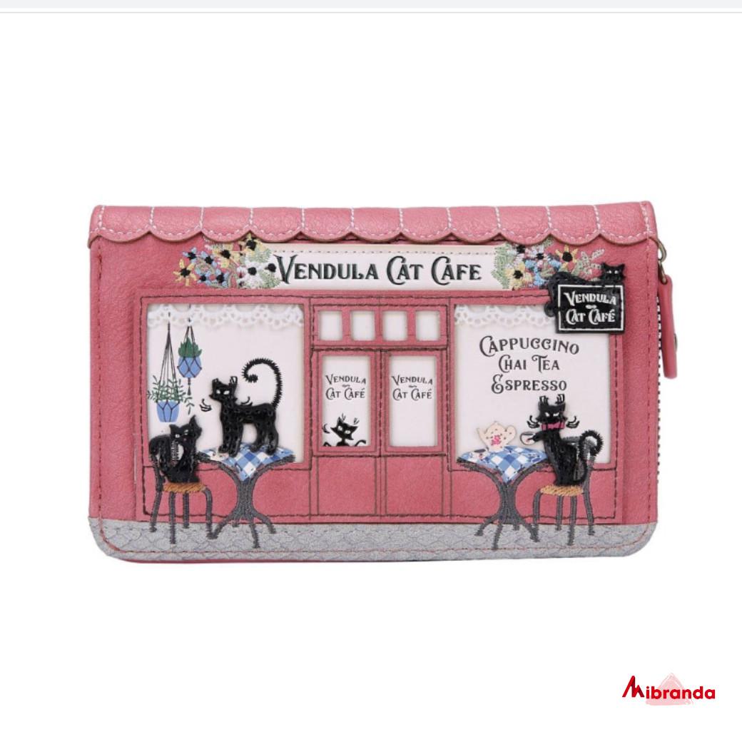 Cartera mediana con cremallera Cat Cafe, de Vendula London