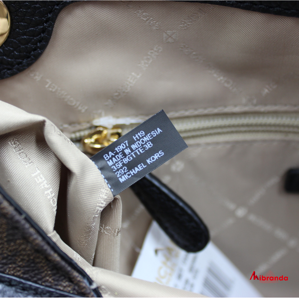 Bolso de hombro Michael Kors Jet Set Item Large Chain color brown/black
