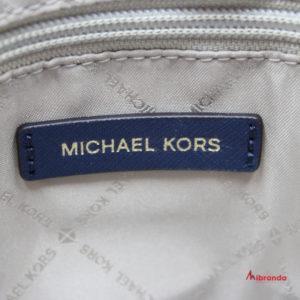 Bolso Satchel Ciara, tamaño grande de Michael Kors, navy con dorado.