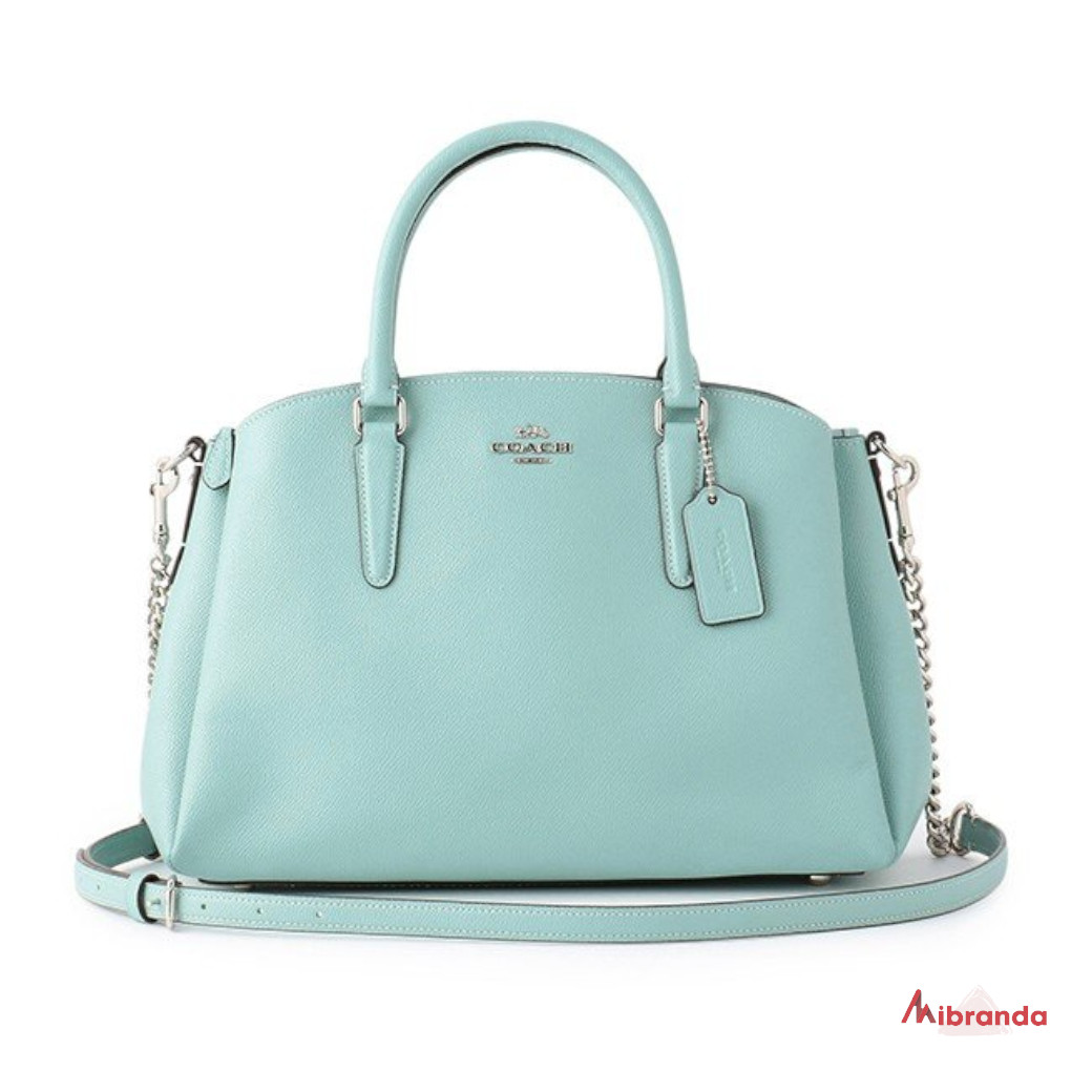 Bolso Satchel SAGE, de COACH, color azul.