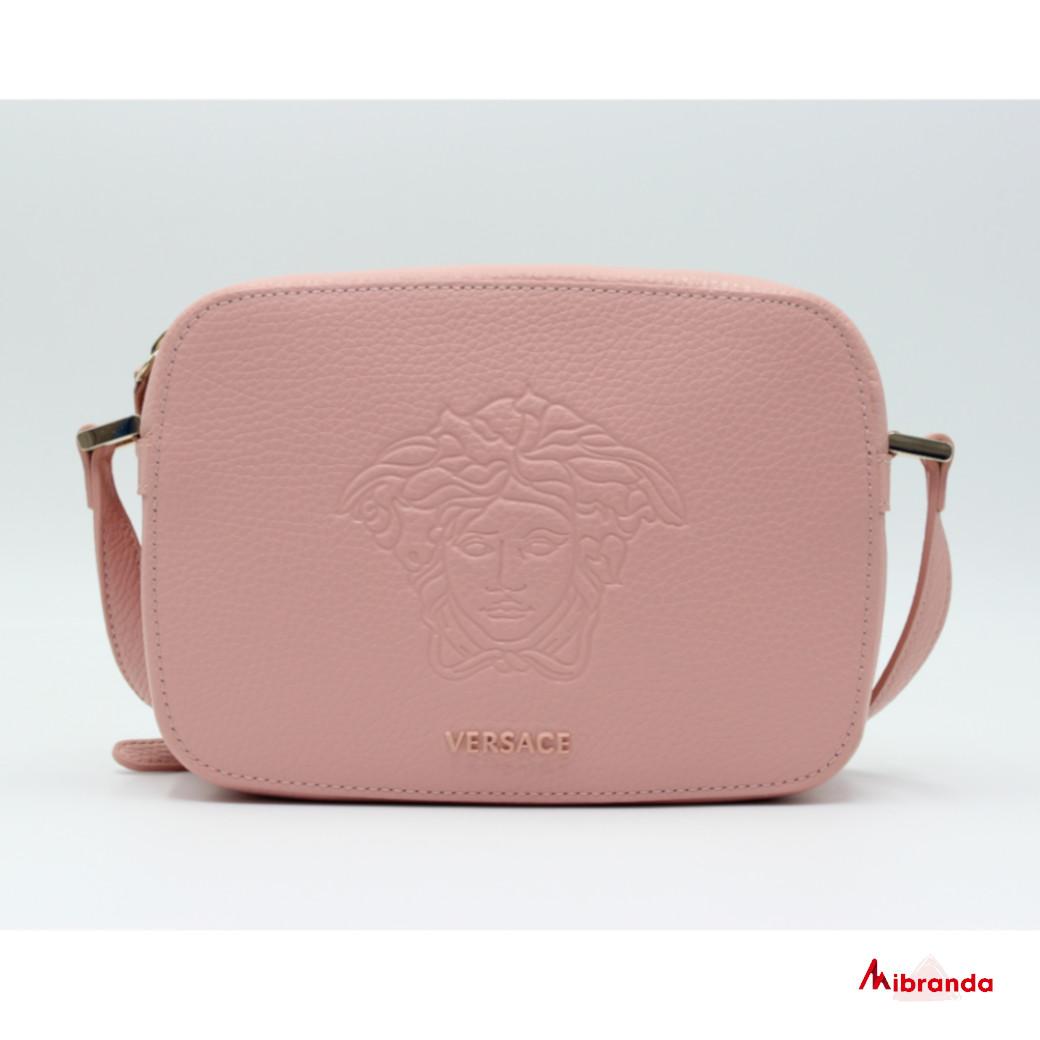 Bandolera VERSACE rosa, con medusa.