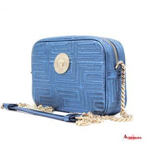 Bandolera VERSACE, azul eléctrico.