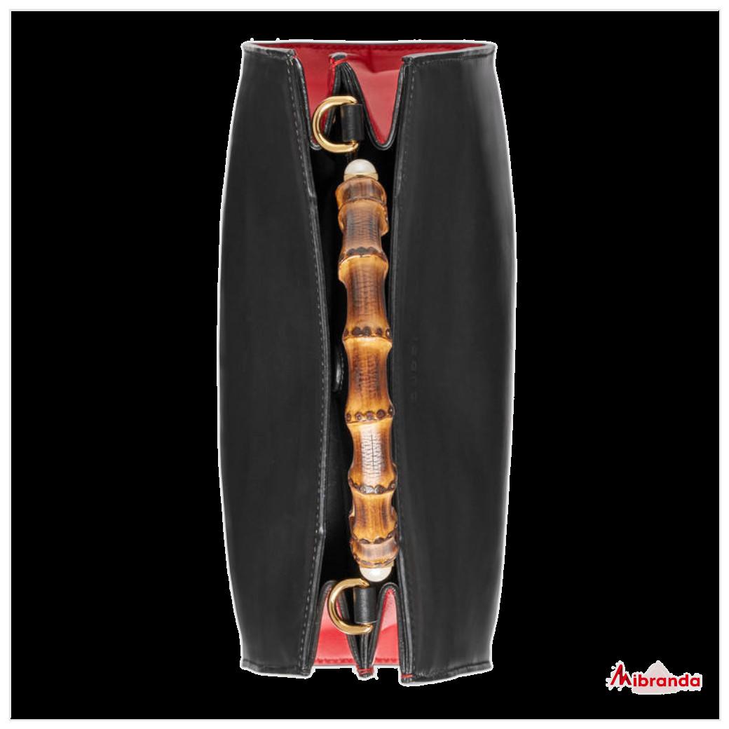 Gucci bolso Bambú Nymphaea, mediano, negro
