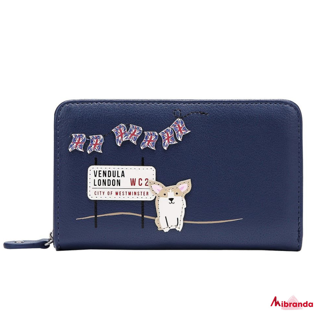 Cartera con cremallera London Corgis, de Vendula London