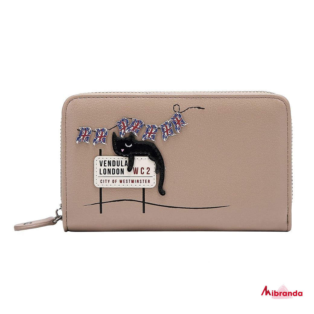 Cartera con cremallera London Cats, de Vendula London