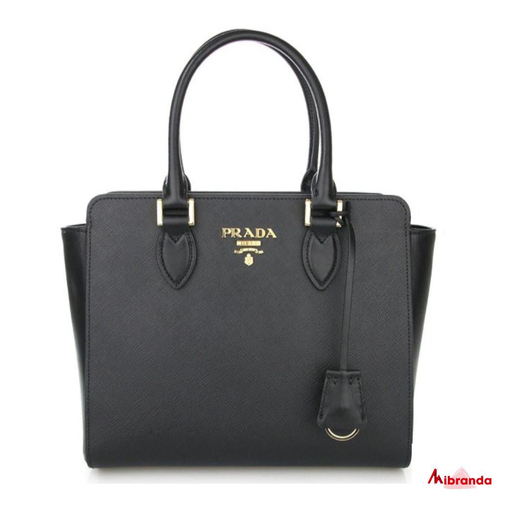 Bolso de mano saffiano+soft, negro, de Prada.