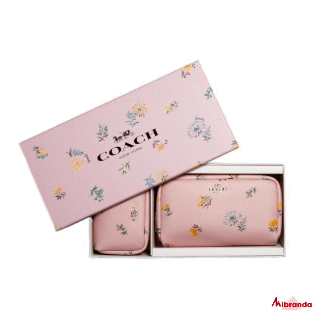 Caja con bolsa de cosméticos pequeña y mini, de Coach