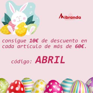 Bienvenido Abril!! Código descuento de 10€ por cada artículo de igual o mayor a 60€. Disfrútalo!!! #abril  #códigodescuento #mibranda_shop  #modamujer  #marcasoriginales  #bolsosdemarcaoriginales